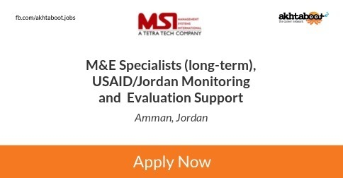 M&E Specialists (long-term), USAID/Jordan Monitoring and