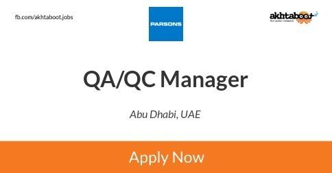 QA/QC Manager job at PARSONS in Abu Dhabi, UAE