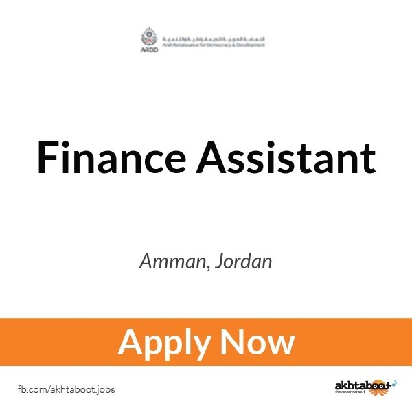 finance assistant job at ardd arab renaissance for democracy and development in amman jordan